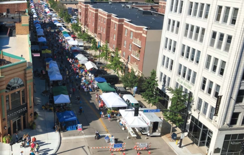 Aerial view of the Green Bay Downtown Farmers Market looking down Washington Street. Photo by Warren Bluhm