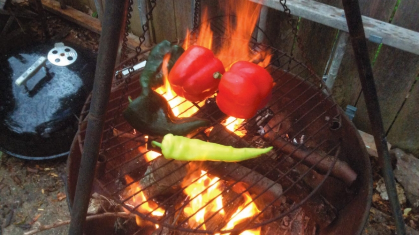 Peppers over an open flame