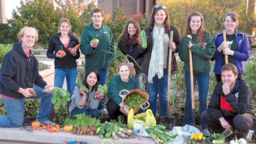 UW-Green Bay students with their harvest.