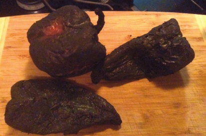 Fully blackened peppers