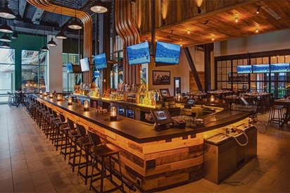 The bar with the huge Lombardi Trophy seen through the window