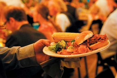 Corn, sliders, and various reception food