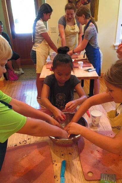 Kids at The Savory Spoon cooking school in Ellison Bay