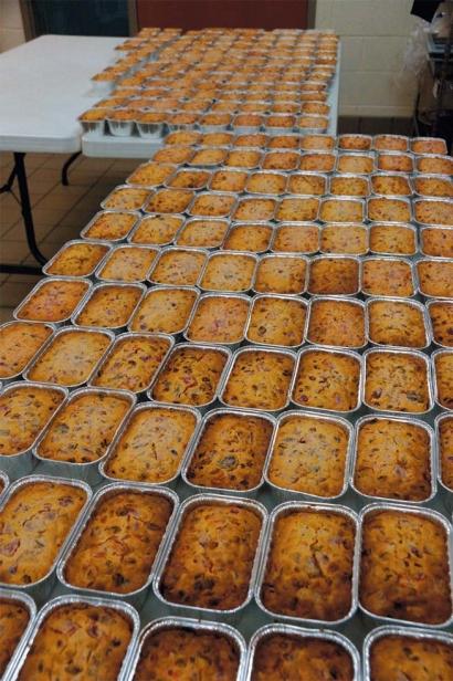 Rows of fruitcakes