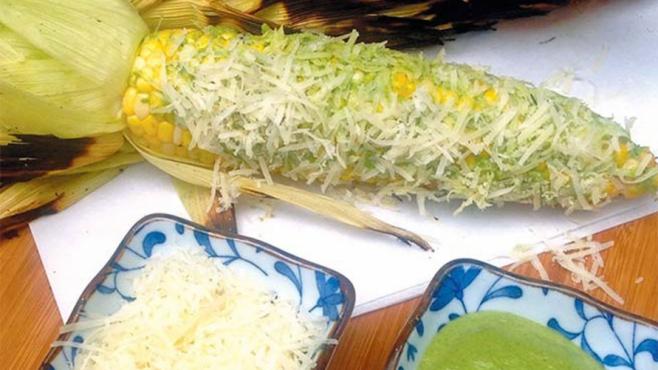 corn parmesan cheese and pesto