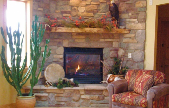Fireplaces present a calming backdrop in one of the spa's two lounges.
