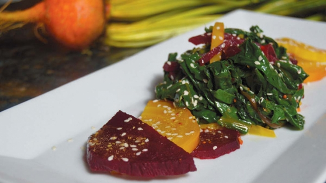 Beet Greens & Roasted Beet With Sesame Dressing